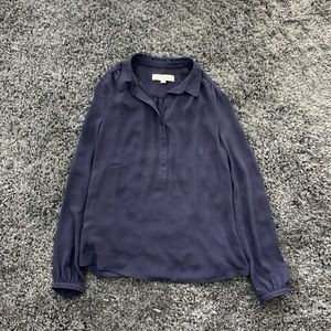LOFT Collared Blouse in Navy
